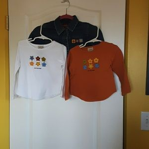 Arizona 4T jean jacket/ 2 long sleeve 4T shirts